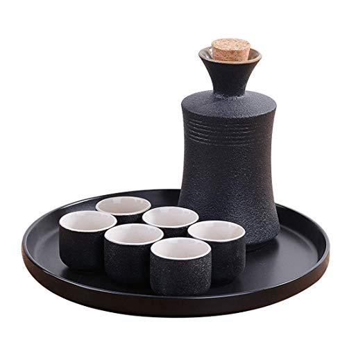 DLILI Juego de Sake, Taza de Vino de cerámica Hecha a Mano de 7 Piezas, Botella de Sake de cerámica y 6 Tazas, Ideal para Sake japonés, B, 8 Piezas