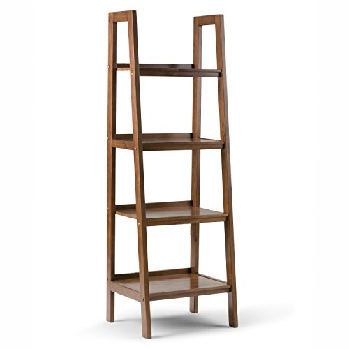 SIMPLIHOME Sawhorse SOLID WOOD 72 inch x 24 inch Modern Industrial Ladder Shelf in Medium Saddle Brown with 4 Shelves, for the Living Room, Study and Office