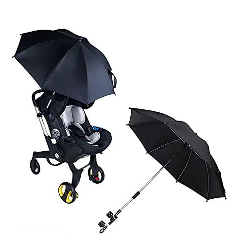 GYAM Paraguas para Cochecito De Bebé Sombrilla De 75 Cm De Diámetro para Cochecito, Cochecito, Cochecito 50+ Protección Solar UV - Vinilo,Negro