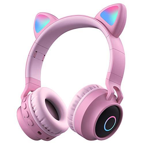 Auriculares Bluetooth con Orejas de Gato Uplayteck, Color Rosa Alta Fidelidad Estéreo Auriculares Inalámbricos Cascos Plegables con Micrófono, Auriculares Diadema Bluetooth para Niña iPhone Android PC