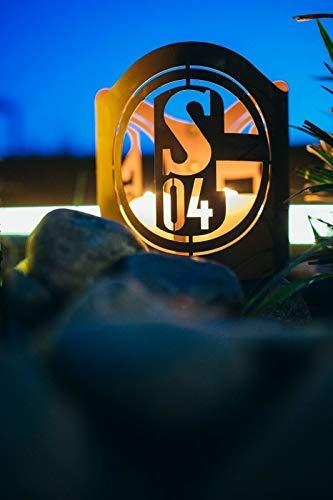 FC Schalke 04 S04 Edelrost Windlicht Metall Fanartikel Fußball Feuerkorb - Maße: Höhe ca. 19 cm, Durchmesser ca. 20,5 cm exkl. Handarbeit