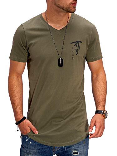 JACK & JONES Herren T-Shirt V-Neck Print Shirt (L, Dusty Olive)