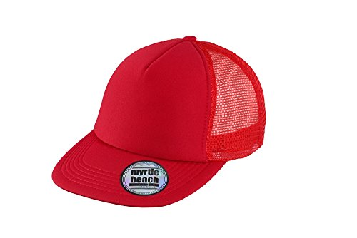 MYRTLE BEACH 5 Panel Flat Peak Cap in red Taille: Taille unique