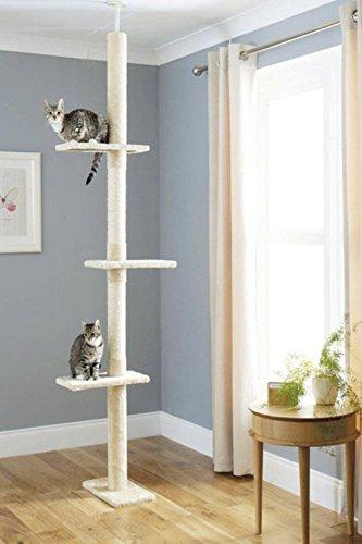 Kratzbaum, Kletterbaum mit Reichweite vom Boden bis zur Decke, Kletterbaum Deckenhoch Höhenverstellbar, Katzenbaum Katzenkratzbaum Spielbaum Katzenmöbel Katzenkratzturm für Katzen