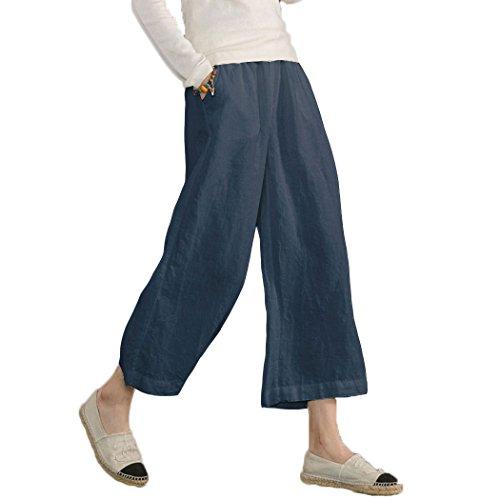 Ecupper Womens Casual Loose Elastic Waist Cotton Trouser Cropped Wide Leg Pants Dark Blue 2XL