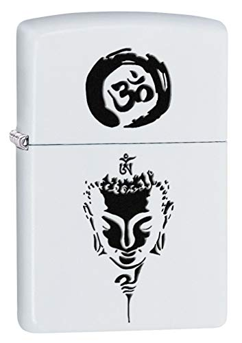 Zippo Lighter: Om and Buddha - White Matte 80445