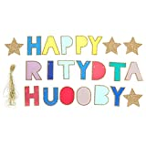 Barra de color de decoración de letras, Wilecolly Happy Brithday Party Banner Decoraciones colgantes Guirnalda de papel colorida