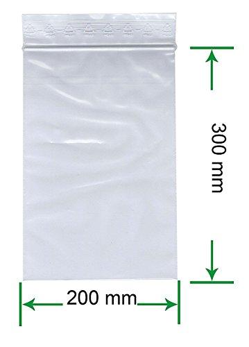HeiZip 100 x Druckverschlussbeutel 200 x 300 mm, 90 mµ/MY (extra stark), Transparent, Unbedruckt, Wiederverschliessbar, Lebensmittelecht