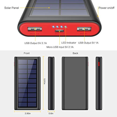 Solar Power Bank, VOOE 26800mAh Portable Charger Fast Charging External Battery Pack with Dual USB Output High Capacity…