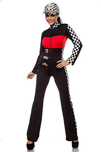 Rennfahrerin Kostüm oder Grid Girl Overall (M/L, Schwarz/Weiß/Rot)