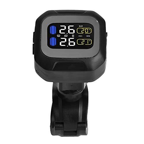 Sistema de monitor de presión de neumáticos inalámbrico para motocicleta con 2 sensores externos, indicador digital inalámbrico TPMS para pantalla LCD de alarma de neumáticos de motocicleta, monitor d
