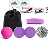 Pack of 3 Massage Balls Set with 1 Resistance Band, Spiky, Lacrosse Ball, Peanut Muscle Roller Massager for Myofascial Trigger Point Release & Deep Tissue Massage, Fabric Booty Band for Legs & Butt