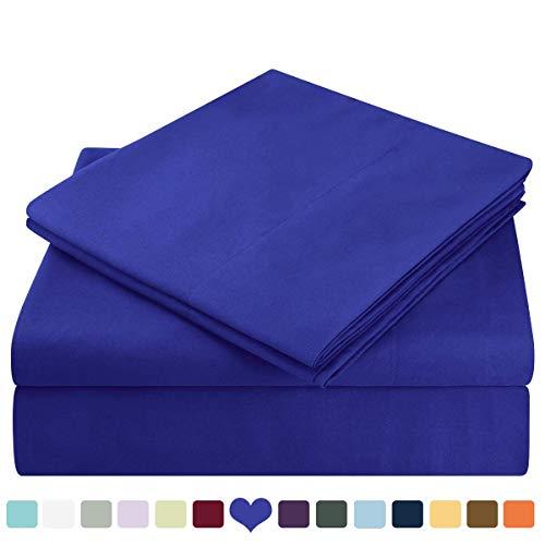 HOMEIDEAS 4 Piece Bed Sheet Set (Queen,Sapphire Blue) 100% Brushed Microfiber 1800 Bedding Sheets Deep Pockets,Wrinkle & Fade Resistant