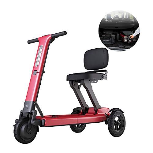 YF-Mirror Scooters de Movilidad eléctricos Plegables y Ligeros con batería de Litio, fácil Viaje, Silla de Ruedas eléctrica, Scooter multiterreno para Adultos, Rojo