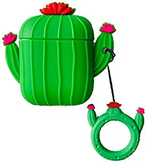 Ultra Thick Soft Silicone 3D Barrel Cactus Green Case for Apple Airpods 1 2 Finger Loop Sunny Day Flower Floral Tropical Protector Shockproof Summer Fresh Girls Boys Kids Teens Daughter Son