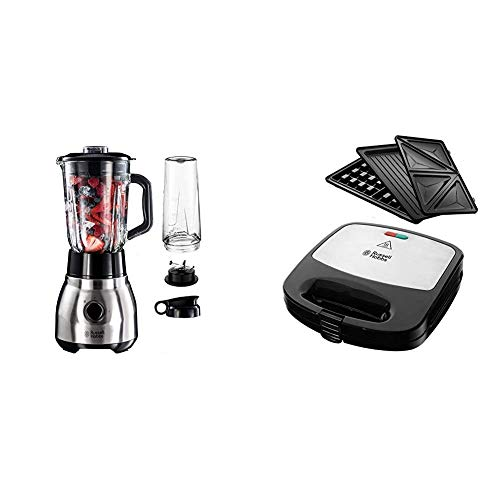 Russell Hobbs Standmixer Glas Steel 2-in-1, inkl. To-Go-Becher & Deckel, 1.5l Glasbehälter, Mixer 0.8 PS-Motor, Impuls-/Ice-Crush Funktion, mini Smoothie-Maker & Multifunktionsgerät 3-in-1 Fiesta