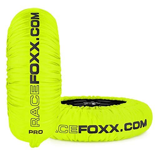RACEFOXX PRO 80/100° C - Calentador de neumáticos (temperatura de calentamiento Superbike, 120/17 delante y 180 hasta 200/17 detrás, amarillo neón)
