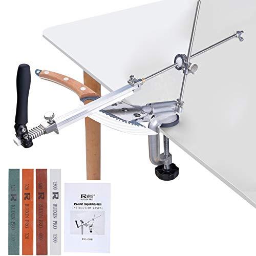 RUIXIN PRO RX-008 - Afilador de cuchillos profesional, rotación de 360°, diseño de giro de giro fijo, hierro y acero, kit de herramientas con 4 piedras de afilar