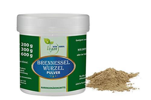 VITAIDEAL VEGAN® Brennessel-Wurzel Pulver 300g. inklusive Messlöffel, rein natürliches Pulver ohne Zusatzstoffe.