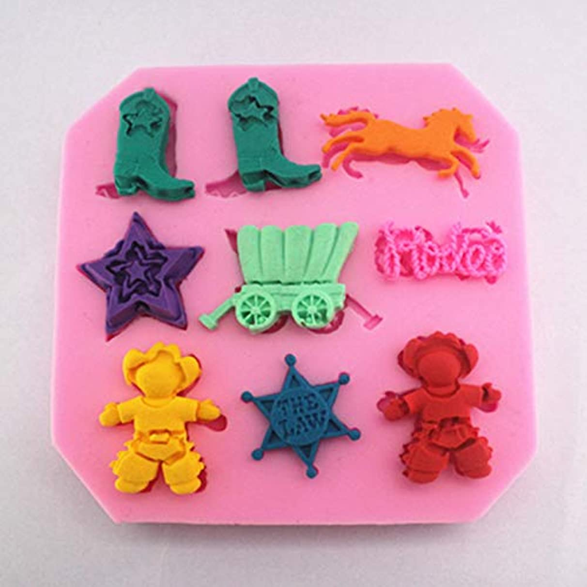 Cake Molds - The Wild West Cowboy Theme Candy Mold Include Boot Horse Cow Boy Sherriff Badge - Music Monkey Hand Farm Lollipop Teeth Travel Baby Candy Marijuana Heart Duck Peanut Magneti