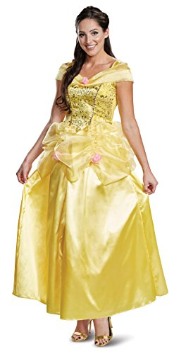 Disguise Women's Disney Princess Beauty and The Beast Belle Deluxe Adult Costume, Yellow, Small (4-6)