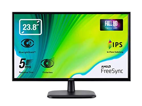 Acer EK240YAbi - Monitor de 23.8  Full HD 60 Hz (60 cm, 1920x1090, Pantalla IPS LED, 250 nits, Tiempo de Respuesta 5ms, VGA, HDMI, EcoDisplay) - Color Negro