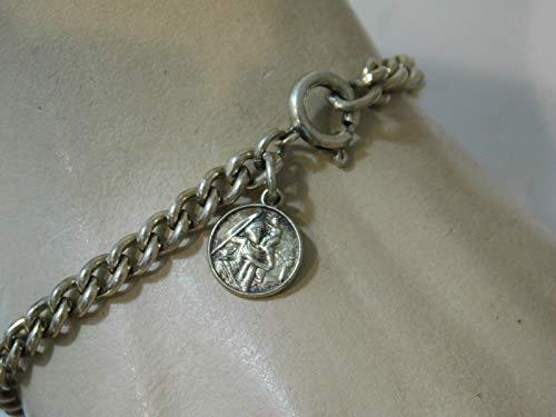 """Vintage Silver Dainty St Saint Christopher Medal Curb Link 7.5"""" Bracelet 8k 78 ES-4211"""