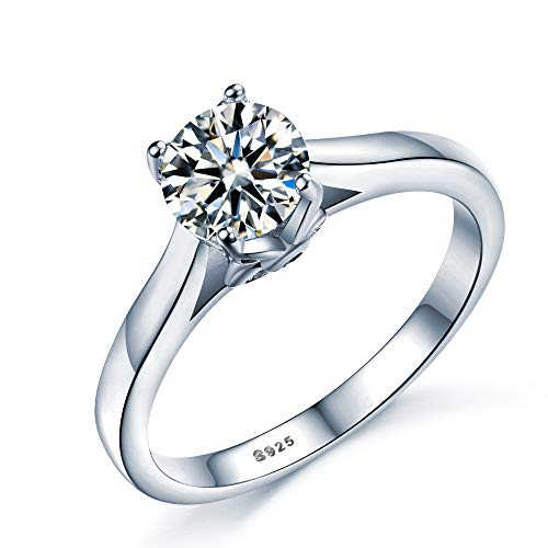 Sterling Silver Brilliant Solitaire Promise Eternity Engagement Rings for women (S)