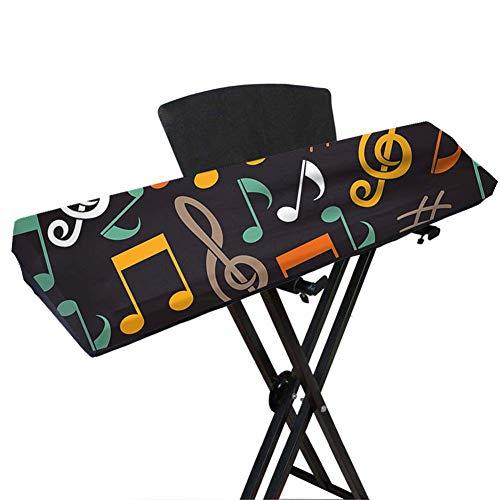 Cubierta de teclado de piano, cubierta elástica de spandex a prueba de polvo con bloqueo de cable elástico ajustable para teclado electrónico, impresión con símbolo de música, traje para teclas 61/88
