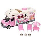 Fournyaa Modelo Caravana, Coche de Viaje de Juguete, Función de iluminación para niños Niños(Pink)