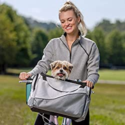 PetSafe Bicycle Pet Carrier for Dogs  - Sport Style Light Nylon Material - Detachable Carrier with Shoulder Strap - Removable Sun Shield - Multiple Storage Pockets
