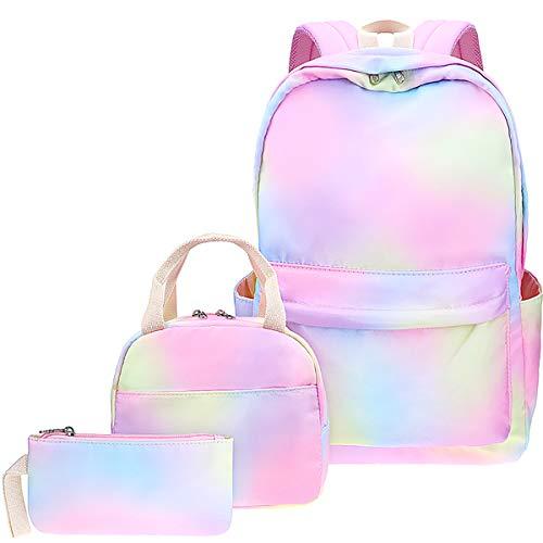 Rainbow Backpack Set 3-in-1 Kids School Bag, Junlion Laptop Backpack Lunch Bag Pencil Case Gift for Teen Girls Womens