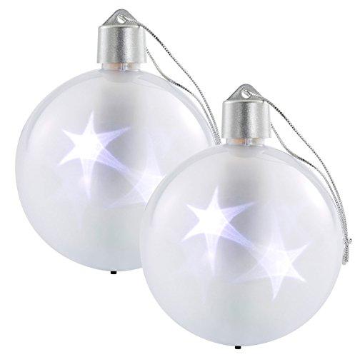 Lunartec LED Weihnachtskugel: 2er-Set LED-Weihnachtskugeln mit 3D-Effekt, weiß (LED Glaskugel mit 3D Effekt)