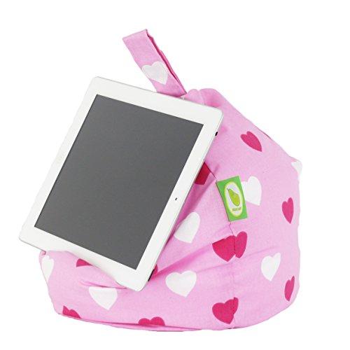 iPad, eReader & Book Mini Sitzsack von Bean Lazy passt für alle Tablets und eReaders - Rosa Herzen