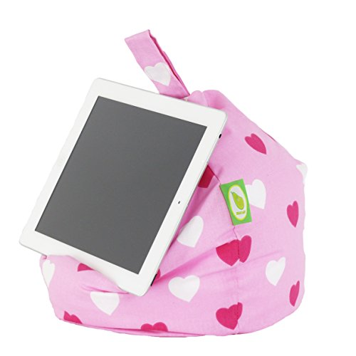 Bean Lazy iPad, eReader & Book Mini Bean Bag Fits All tablets and eReaders - Pink Hearts