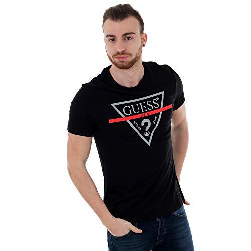 Guess Herren T-Shirt CN Ss Clear Tee, Schwarz (Jet Black A996), Large