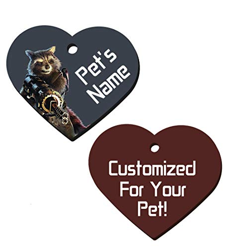 Guardians of The Galaxy Double Sided Pet Id Tags for Dogs & Cats Personalized for Your Pet (Rocket Raccoon, Heart Shaped)