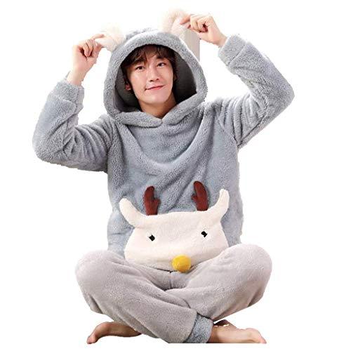 NOSSON Verdickung Home Service Cartoon Deer Image Pyjamas Mode Warme Pyjamas Herren...