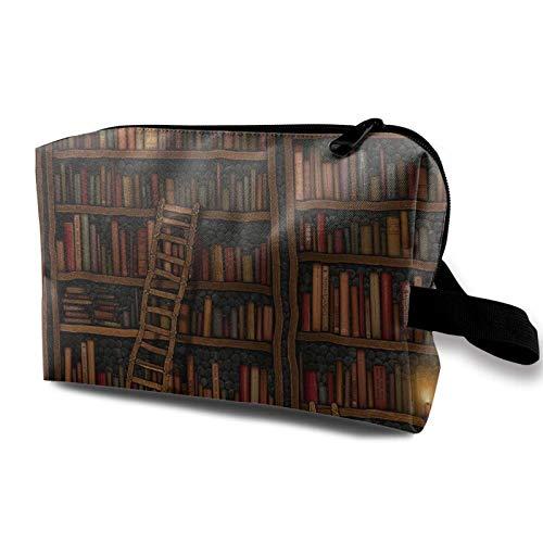 XCNGG Bolsa de cosméticos para jóvenes Exquisitas bolsas de maquillaje de viaje Bolsas de aseo multifunción Biblioteca Estantería Vintage