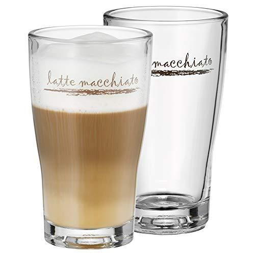 WMF Barista Latte Macchiato Gläser Set 2-teilig, Latte Gläser 264 ml, Latte Macchiato Glas mit Schriftzug, spülmaschinengeeignet