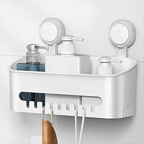 Ulinek Duschablage Badezimmer mit Saugnapf ohne Bohren, Duschregal zum hängen wiederablösbar, Duschkorb wasserdicht für Shampoo Duschgel, Wandregal Küche Organizer, bis 8KG