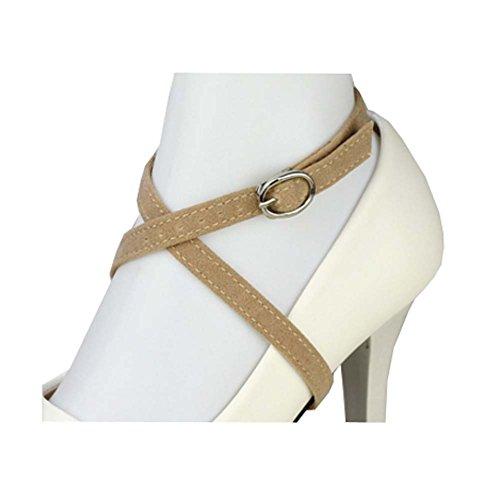 Sangle de chaussure en daim détachable pour femme, talons hauts accessoires de lacet anti-lâche, B