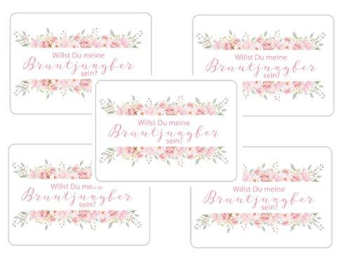 Willst Du meine Brautjungfer sein? 5 x Postkarte Karte Hochzeit Geschenk für Bridesmaid Frage rosa...