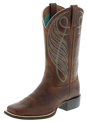 Ariat Damen Cowboy Stiefel 18528 Round UP WST Westernreitstiefel Lederstiefel Braun 37 EU