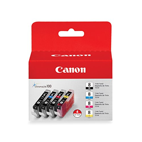 Canon CLI-8 4pk Ink Cartridges - Black, Cyan, Magenta, Yellow (0620B010AA)
