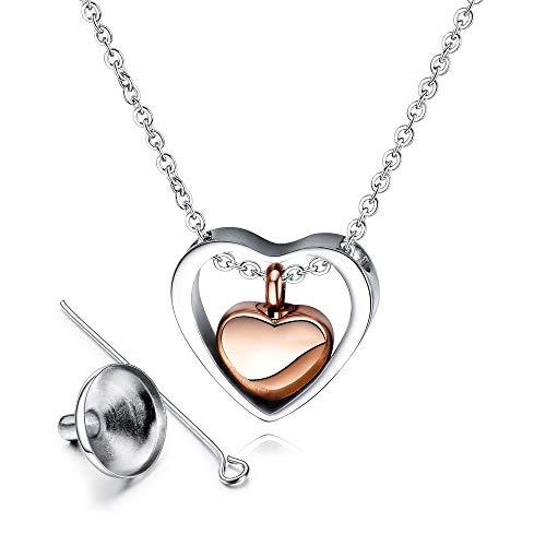 Joyfeelshop - Collar con colgante de corazón cilíndrico, joyería de cremación, colgante de botella de perfume, para perro, gato, cenizas, funeral, recuerdo de cenizas, cenizas de cremación para cenizas