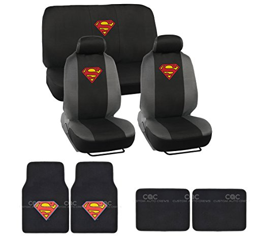 BDK Warner Brothers Superman Seat Cover & Floor Mat for Car - Universal Fit Auto Accessories
