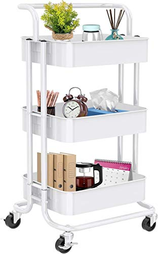 3-Tier Rolling Utility Cart, Multifunctional Metal Organization Storage Cart with 2 Lockable Wheels for Office, Home, Kitchen, Bedroom, Bathroom,...