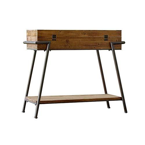 Mesa de consola, mesa de porche trapezoidal Mesa de centro de madera de hierro forjado con armario lateral de pared de almacenamiento Caja de porche antiguo retro Mesa de decoración de vestíbulo