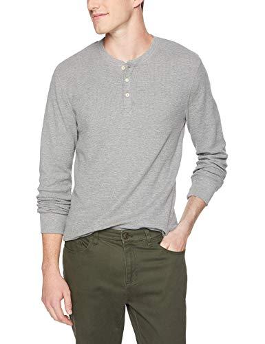 Marchio Amazon - Goodthreads, maglia termica stile Henley da uomo, a maniche lunghe, Grigio (heather grey), US M (EU M)